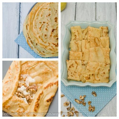 Gefüllte Crêpes mit Birnen-Karamell-Kompott, Walnüssen und Gorgonzola Rezept