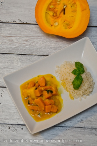 Kürbis-Mango-Curry mit Basilikum Rezept Feed me up before you go-go