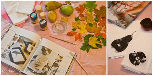 Serviettendruck mit Birnen und Äpfeln nach Fräulein Klein