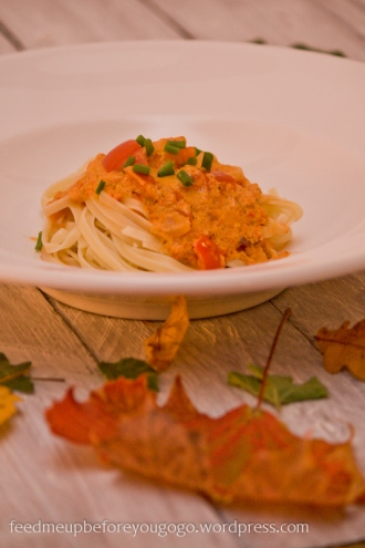 Linguine mit Paprika-Mandel-Sauce Rezept Feed me up before you go-go