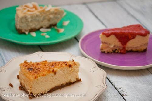 Triple-cheesecake Creme brulee Himbeer Banane-Kokos-3