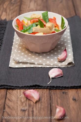 Putengulasch mit Kartoffeln, Curry und frischem Gemüse-2