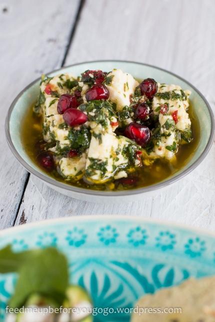 Mezze vegetarisch Quinoa Taboulé eingelegter Feta Pita-2