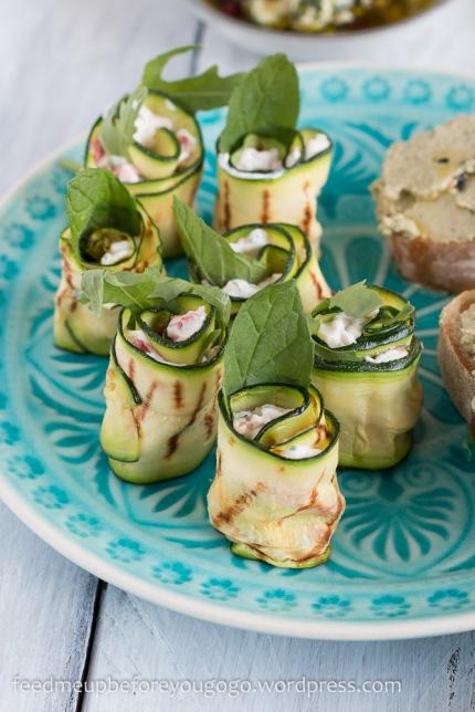 Vegetarische Mezze_Baba Ganoush_Artischockencreme_Zucchiniröllchen-2