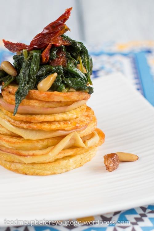 Kartoffel-Apfel-Spinat-Türmchen mit getrockneten Tomaten und Sherry-Rosinen Rezept-4-2