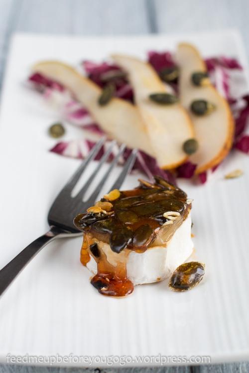 Ziegenkäserollen mit Kürbiskaramell und Radicchio-Birnen-Salat Rezept2-2
